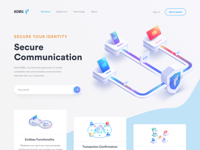 Communication Security Web Page shakuro mobile web ux ui tablet logo layers landing page illustrator illustration identity icon home page desktop design data protection art app
