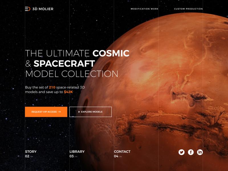 3D Model Store Concept store 3d craft planet website identity space concept model ux ui design web art