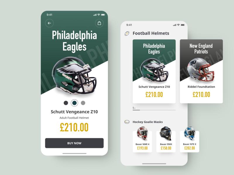 NFL Helmet Mobile Store Concept online store catalog sport wear equipment shop sport shop e-commerce product page mobile nfl helmet iphone xsxr ios iphone app concept store design interface ui ux