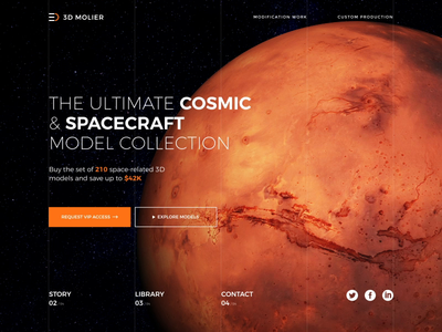 3D Space Model Store Animation e-commerce landing page home page interaction stars milky way space model motion design animation earth mars planet 3d store website design web ui ux