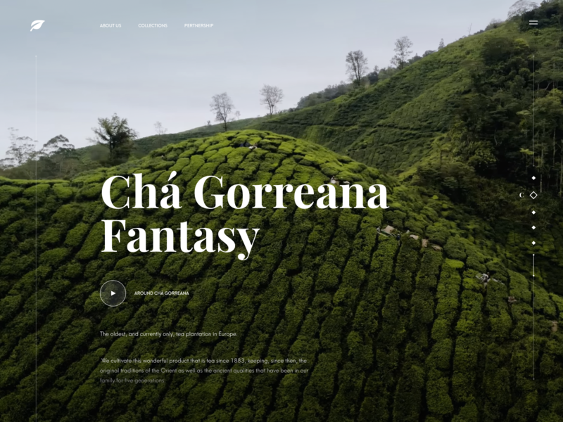 Tea Manufacturer Website Concept play video background video slider mouintain tea plantation e-commerce font web design web product design concept tea landing page home page design ui ux
