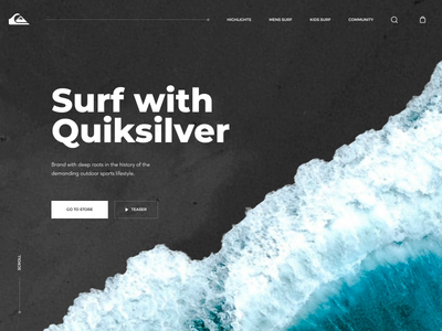 Quiksilver Surfing Home Page quiksilver concept redesign website equipment sport wave transition landing page home page product page surfing store web identity interaction animation motion design ux ui