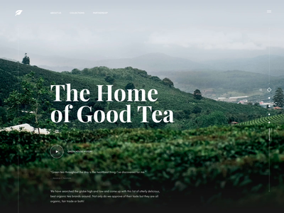 Tea Manufacturer Website Animation background video website tea plantation mountain web ux ui transition interaction slider play video animation motion design product design web design landing page home page font concept design e-commerce