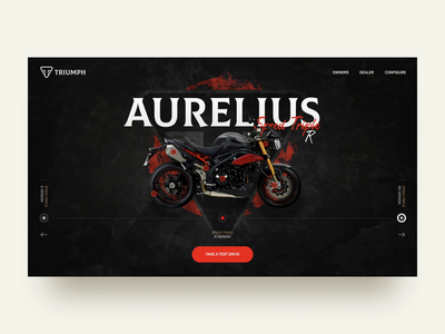 Triumph Motorcycle Shop Animation model concept design interaction transition product design online store motorcycle shop motion design animation web design switch slider product page website ux ui