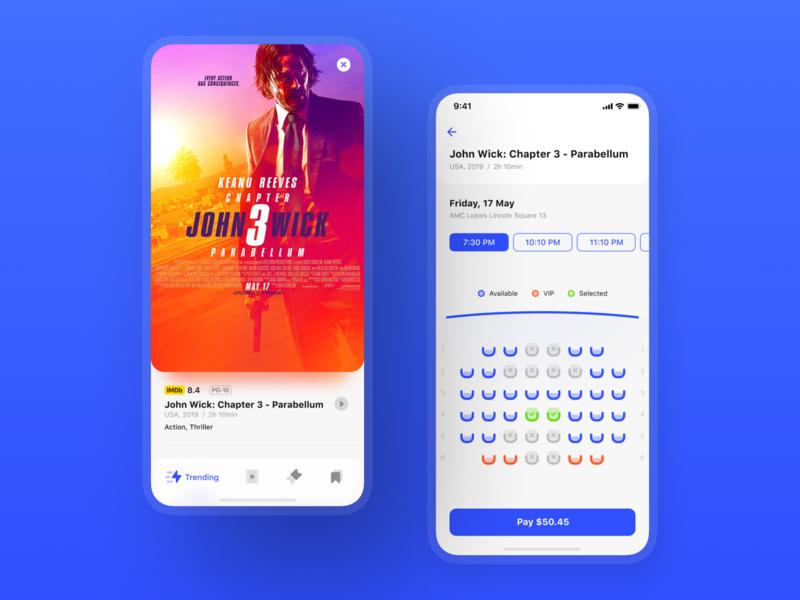 Cinema Tickets App Redesign icon app buy pay film movie ui kit design movie presentation redesign cinema tickets app concept iphone x iphone xs xr ios design ios app ux ui