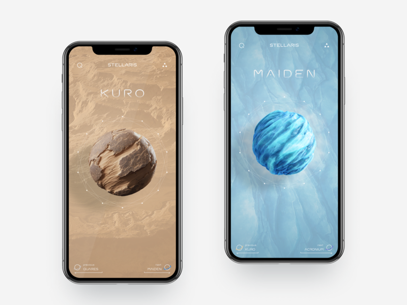 Cosmic Body Research App Concept cosmic body research model studying galaxy universe spectral analysis functions data visualizes sphere planet colors concept design space iphone xs xr iphone x ios mobile app ux ui