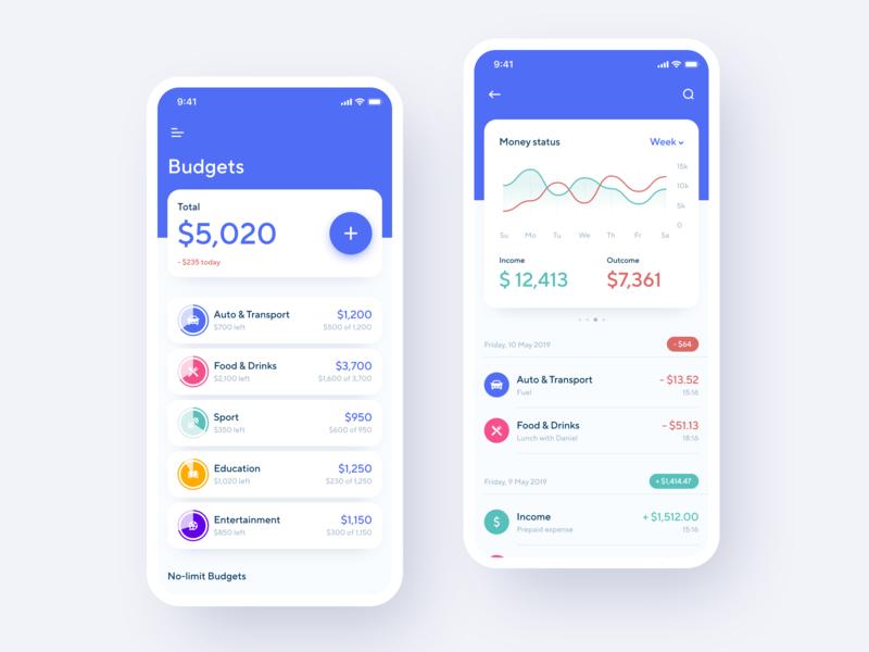 Personal Financial Assistant App ios app design concept money analysis budgeting financial assistant financial iphone xs xr iphone x app ios ux ui