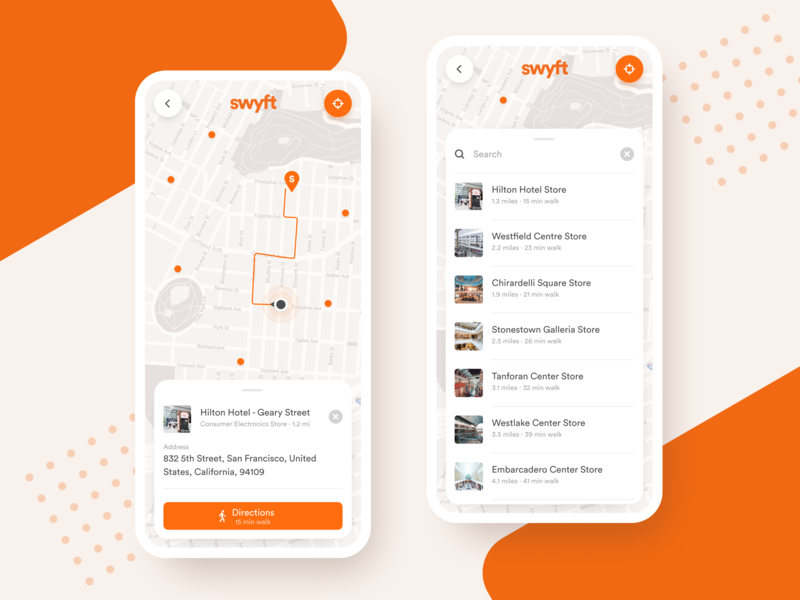 Cashierless Store Locator App store locator cashierless iphone concept store hardware swyft map app mobile ux ui iphone x xs xr ios app