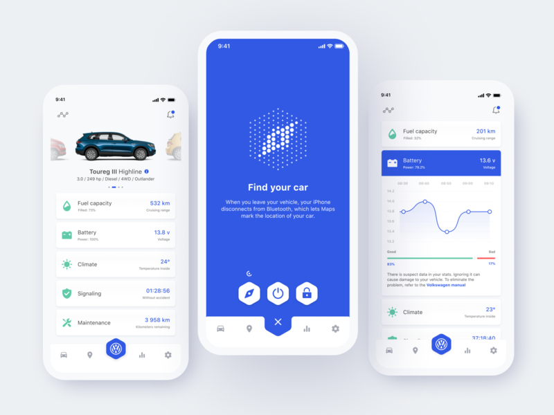 Volkswagen Car Control App Concept ui ux control ios app design iphone x iphone xs xr mobile redesign concept car assistant app volkswagen find your car statistic