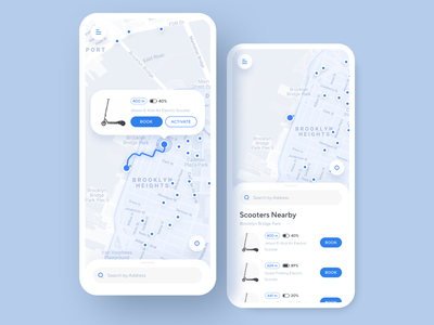 Electric Scooter Share App city social purchase scooter concept route searching map scooter sharing micro-mobility service taxi service mobile product design ios app design ios app iphone xs xr iphone x ux ui