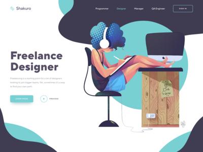 Design Freelancing Home Page Illustration
