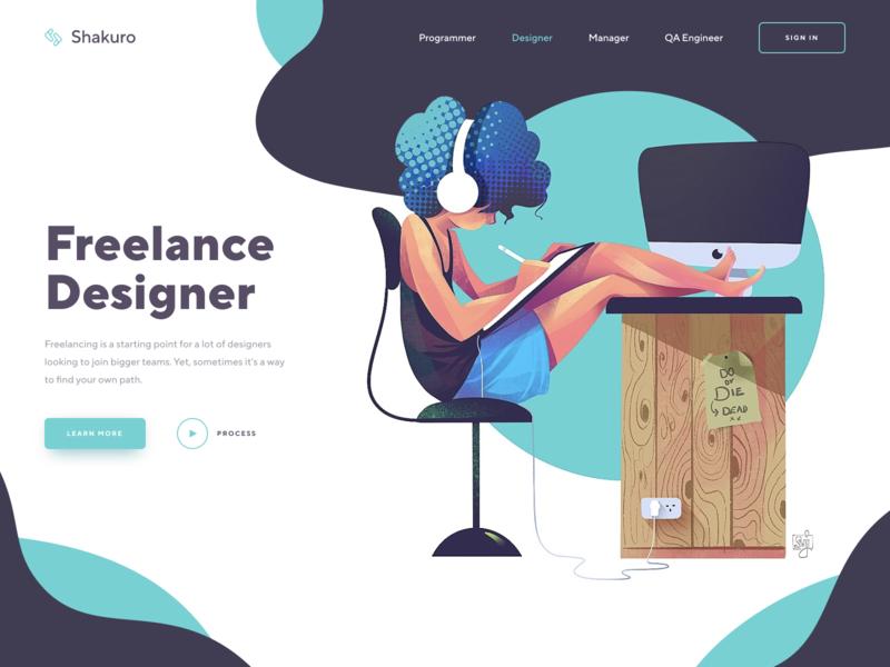 Design Freelancing Home Page Illustration illustrator interface ux ui freelance designer art landing page home page web design website illustration