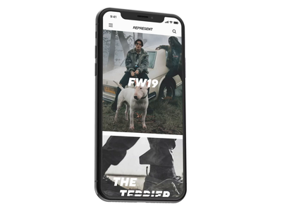 Represent App 3D Animation motion graphics application animated iphone 11 iphone xs xr ios concept fashion brand clothing brand represent interaction transition motion design animation app ux ui