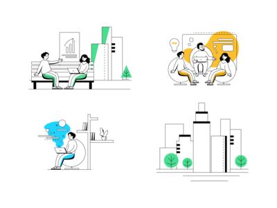 Business Teamwork Illustration Set