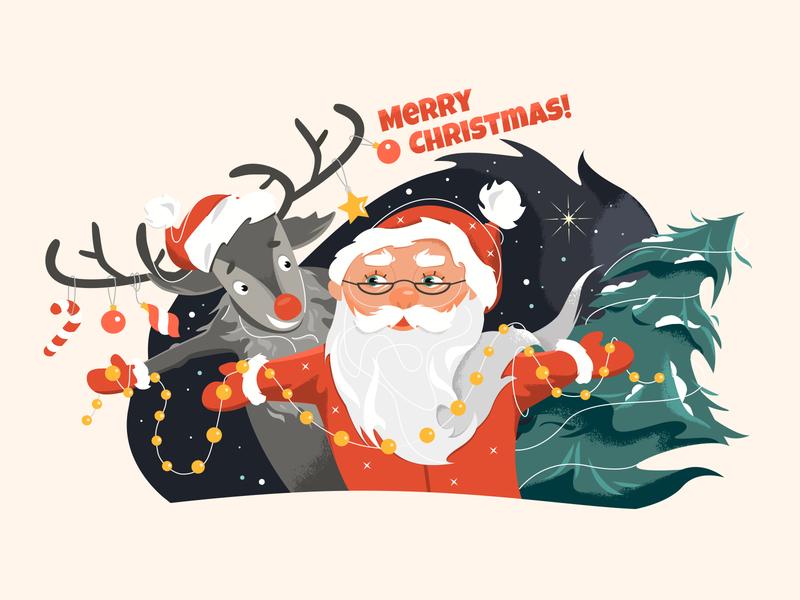 Christmas Illustration merry christmas merry xmas christmas rudolf deer santa santa claus art illustration xmas card xmas