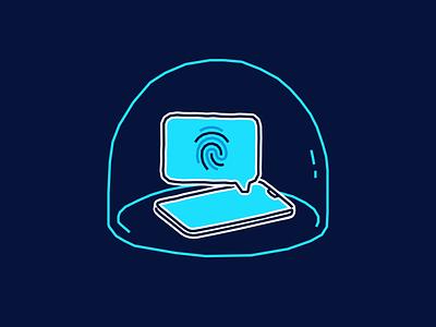 Device protection/Biometrics blue tandem illustration protect bubble phone biometrics