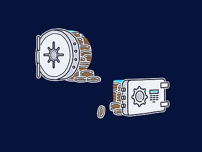 Safe(s) tandem vector illustration fintech finance bank digital lock vault money safe