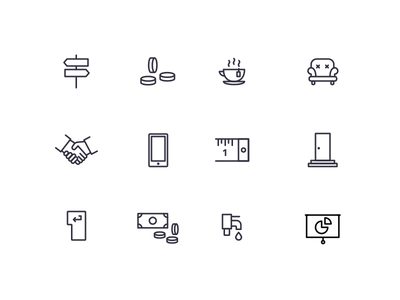 work.life iconography (WIP) wip presentation tap money tape measure handshake chair coffee coins startup worklife icons