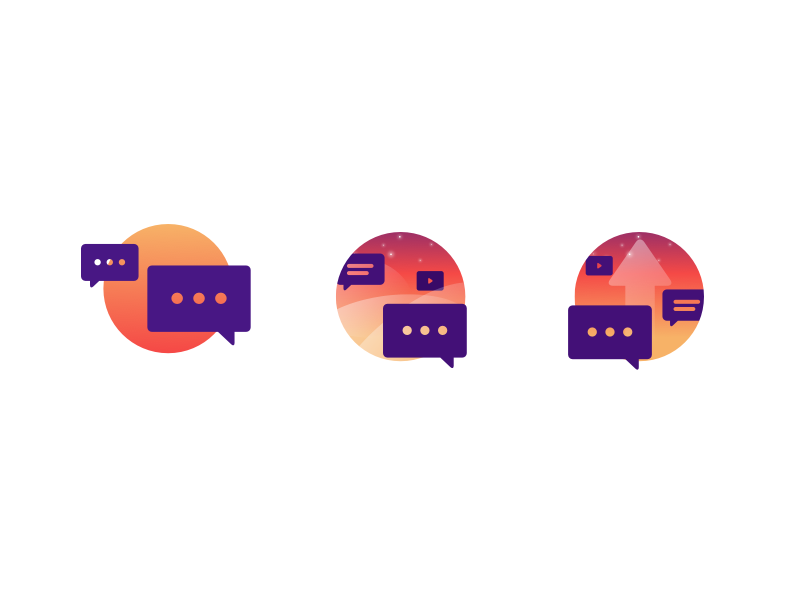 """getorbit.io icons WIP """"Create"""" create upload progress development wip colour gradient icons"""