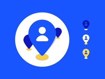 Team Location icon WIP 3 flat yellow ui texture product pin navigation location icon drop blue