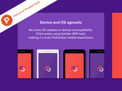 Orbit Feature: Device Agnostic illustration product hunt orbit flat pixel samsung apple iphone mobile phone