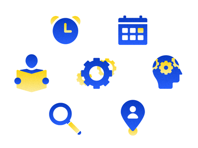 Icons icons icons tags flat ui design wip vector sketch noise texture yellow blue icons