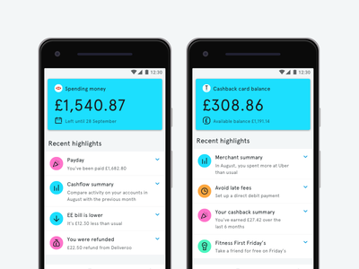 Spending Money, Credit Card & Highlights ux branding design blue icon material colour ui finance challenger bank tandem android