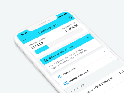 Tandem Cashback Card updates settings statements iphone x mobile apercu blue credit card finance bank tandem fintech ui