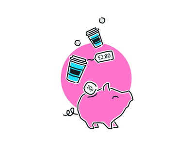 Round ups with Tandem onboarding money coffee thick lines pink illustration tandem bank pig piggybank fintech finance