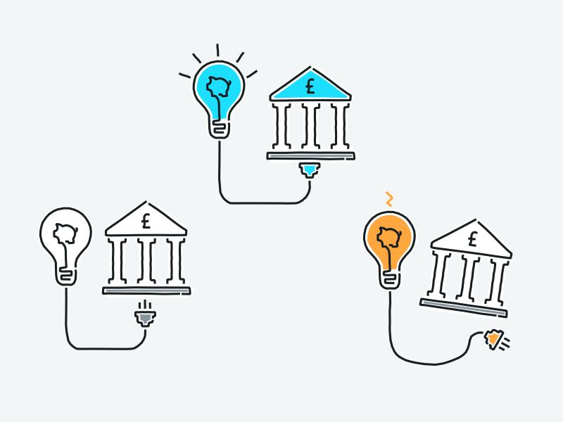 Connecting accounts fintech banks spending money tandem colour illustration wip