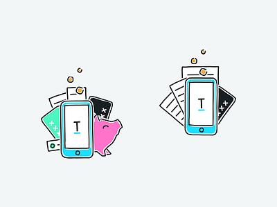 Tandem App insights spending receipts card piggy design branding illustration wip fintech tandem