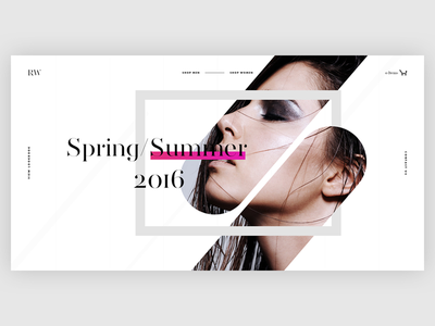 RW Fashion Concept website typography ecommerce shop modern fashion clean webdesign