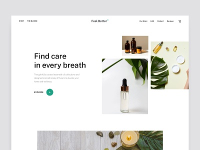 Feel Better website design ecommerce minimal website web ui clean design web design website design landing page oil wellness aromatherapy spa