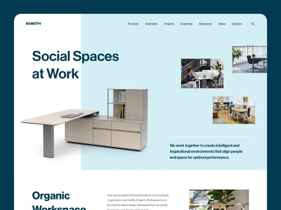 Bamoth Workspace Landing Page Exploration modern ui  ux clean simple minimalist web website web design landing page homepage design work workspace coworking furniture interior office agency