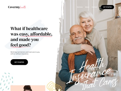 Cover My Health Homepage modern ui design clean minimal web app website ui design landing page homepage branding insurance health healthcare insurance company company hospital medical