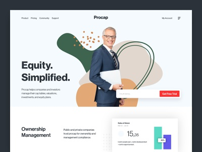 Procap - Landing Page design website landing page homepage web design analysis statistics stock buisness finance investment money income profit trade trading equity investing monetization economy