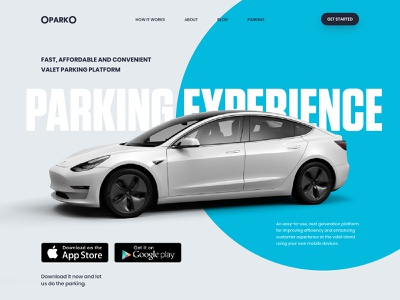 OparkO App Landing Page illustration flat minimal design website tesla ux ui landing page web design app car vehicle map traffic car app valet parking parking app