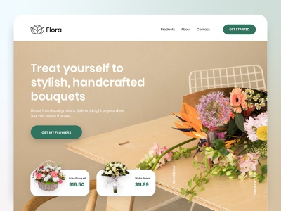 Flora – Flower Delivery Landing app ecommerce ux ui web design landing page typography logo design minimal clean web website shop delivery flower delivery bouquet flower florist
