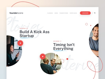 Founder Scene Homepage Design interviews startup inspiration consulting agency app business founder stories interface ui design web website header landing landing page homepage product design saas