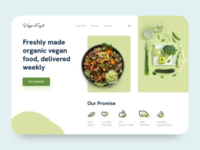 Vegan Fresh - Landing Page Concept landing page homepage startup fresh eat green recipe dish cook kitchen vegan website interface web service food illustration clean bold typogaphy