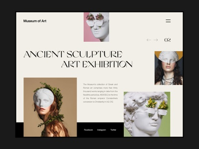 Museum Of Art Landing Page interaction concept ux ui minimal web deisgn landing page typography website web design app fashion statue roman exhibition ancient sculpture art museum