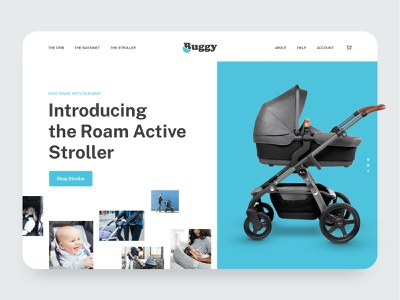 Buggy - Baby Strollers homepage concept design illustraion app homepage web design ux ui ecommerce website web mother landing page care health parenthood crib buggy stroller baby