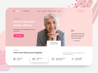 Alder - Elderly Care Web Design Exploration landing page header homepage app design ui website web woman senior care old age charity caregiving care elders family medical nursing elderly care elderly