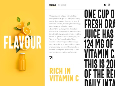 Orange Juice landing page concept illustraion logo web pulp tree concept vitamins stories guide landing page homepage website web design typogaphy fruit fresh organic juice orange oranges