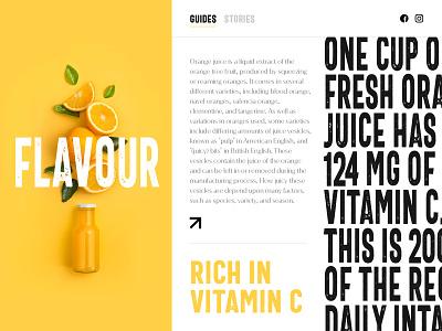 Orange Juice landing page concept illustraion logo web pulp tree concept vitamins stories guide landing page homepage website web design typogaphy fruit fresh organic juice orange oranges