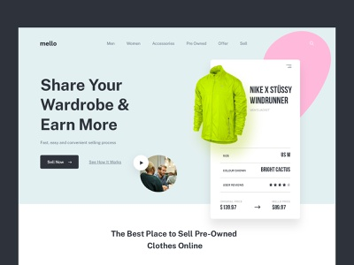 Mello Website - Share Your Wardrobe & Earn More apparel lifestyle fashion app earn wardrobe web design design typography website web startup nike clothes sell store shop lookbook landing page ecommerce fashion