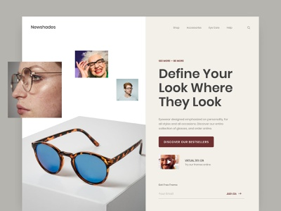 Newshades Landing Page Design Exploration layout fashion landing eyewear portfolio digital marketing agency header ui ux shop web design homepage ecommerce web website design landing page sunglass sunglasses