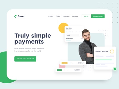 Bezel - Fintech Landing Page Concept portfolio agency digital marketing business hero header dashboard ui insurance payment branding ux ui web design homepage landing page web website design saas landing page saas website fintech