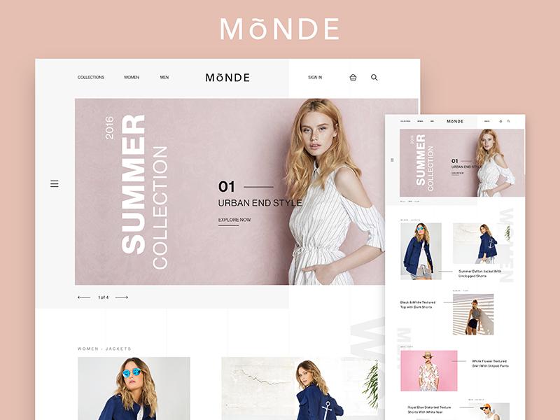 Monde ecommerce Concept fashion design web ui store shop flat minimal ecommerce clean