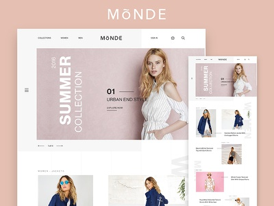 Monde ecommerce Concept fashion design web ui store shop flat minimal ecommerce clean